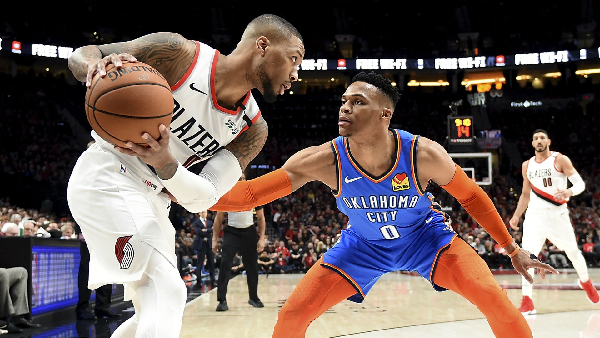 With George Ailing, Back Blazers For 2-0 Lead On Thunder Tuesday